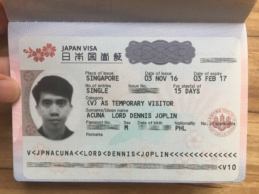 Japan Tourist Visa Application for Filipinos in Singapore